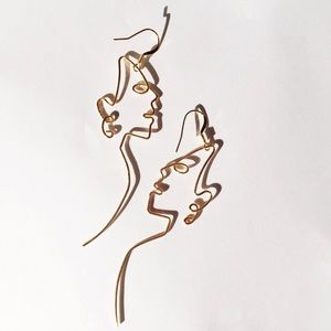 Illustrated Woman Face Earrings